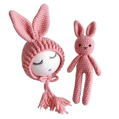 TOYMYTOY Baby Rabbit Photography Prop Knitted Cotton Crochet Costume for Baby Boys and Baby Girls